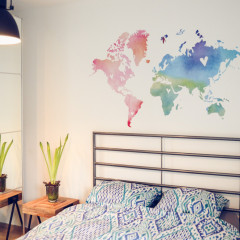 beautiful watercolour world map wall sticker
